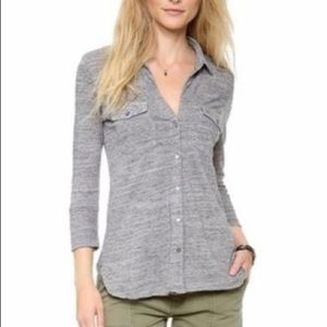 James Perse Heather Gray Cotton Button Down